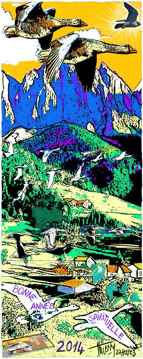 Assemblées d'oies sauvages, volant vers le milieu des Hauteurs saintes, guidées par le faucon.