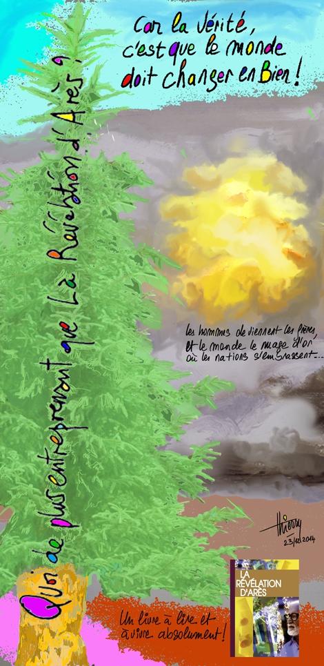 Les hommes deviennent les frères, et le monde le nuage d'or où les nations s'embrassent...(xix/22)